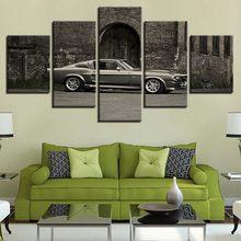 Retro samochód sportowy i budynek moduł na płótnie wydruki HD plakaty Home Decor obrazy na ścianę 5 sztuk obrazy bez ramki