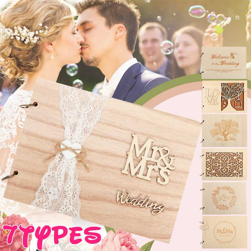 Multi-style Rustic Sweet Wood Wedding Guestbook Album, Decroation Wooden Book Guest Book Wedding Guests Autograph Book