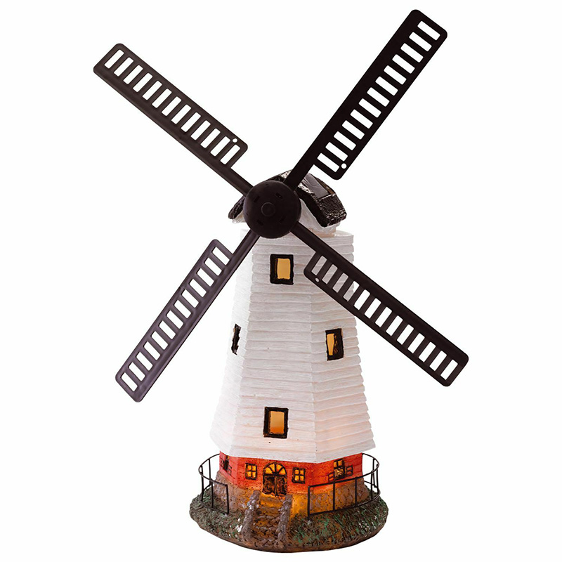 Automatically lit LED Solar light Lighthouse Statue shape Rotating Outdoor solar powered lamp for Garden Yard decoration