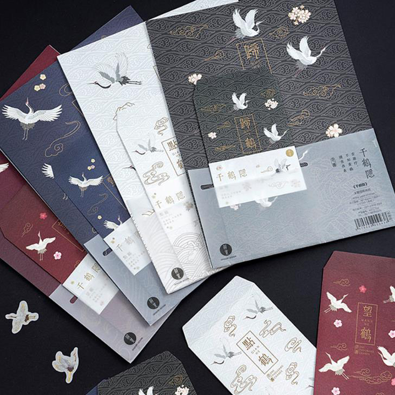 9 Pcs/pack Cute 3 Envelopes + 6 Letters Ancient Chinese Style Immortal Crane Series Paper Letter Envelope Set Gift Stationery