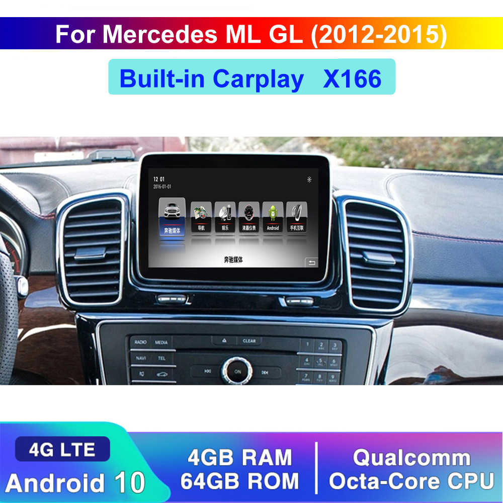 Qualcomm Android 10 Auto Anti-Glare Screen Autoradio Display Voor Benz Ml Gl Gle Gls Klasse 2012-2018 4G Lte Wifi Bt X166