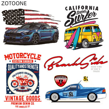 ZOTOONE Letter Car Patches for Clothing DIY Iron on Transfers Motorcycle Stickers Kids Big Size Thermo Patch T-shirt F