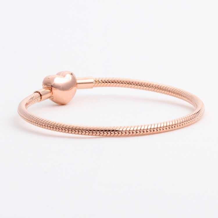 925 Sterling silver Moments Bracelets Pave Heart Clasp Rose Gold Snake Chains Fit Original Pan Bracelets For DIY Jewelry