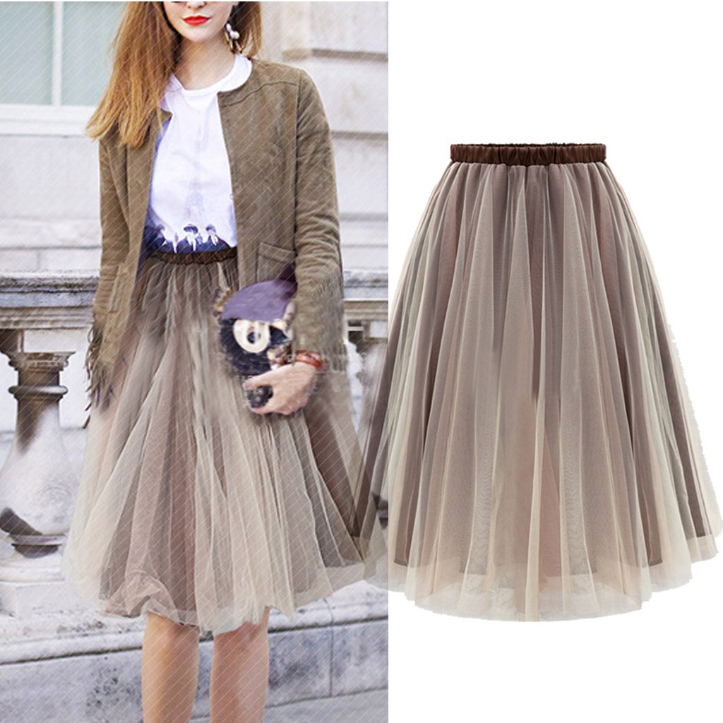 2020 Skirts Womens Fashion Casual Hight Waist Elastic Layered Tulle Ball Gown Tutu Skirt Faldas Largas Mujer