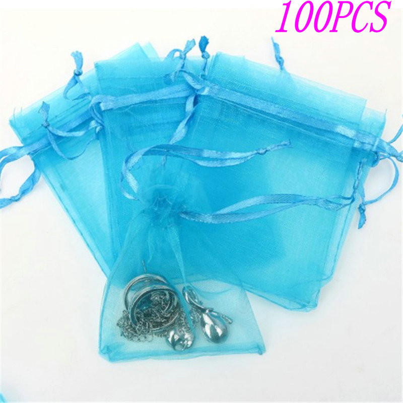 100pcs/lot 7x9cm Organza Bag Drawstring Organza Bags Jewelry Packaging Bags Candy Wedding Bags Wholesale Gifts Pouches  Jewelry