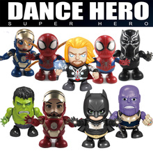 Single Electric Dance Hero Robot Marvel DC Batman Figure Super Hero Hulking Iron Man LED Light Sounds Music Robot Toys Kids Gift