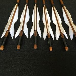 Image 2 - 6/12/24pcs ยิงธนู Handmade ไม้ไผ่ลูกศร 5 นิ้วตุรกี Feathers สำหรับ Recurve Bow/ตรงโบว์/อเมริกันกลางแจ้งการล่าสัตว์