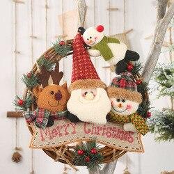 Ротанг + фланель Рождество ротанга Подвеска олень старый человек Снеговик Рождество передняя дверь висячие