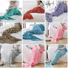 90x180cm Knitted Mermaid Tail Blanket Handmade Crochet Mermaid Blanket Super Soft All Seasons Sleeping Knitted Blankets 1PCS knitted fishbone sofa wrap kids mermaid tail blanket