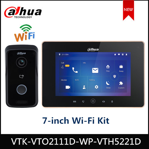 Dahua Indoor Monitor WiFi Kit Remote Intercom VTO2111D-WP VTH5221D 7'' Capacitive Touch Screen Alarm Integration IPC Surveillanc