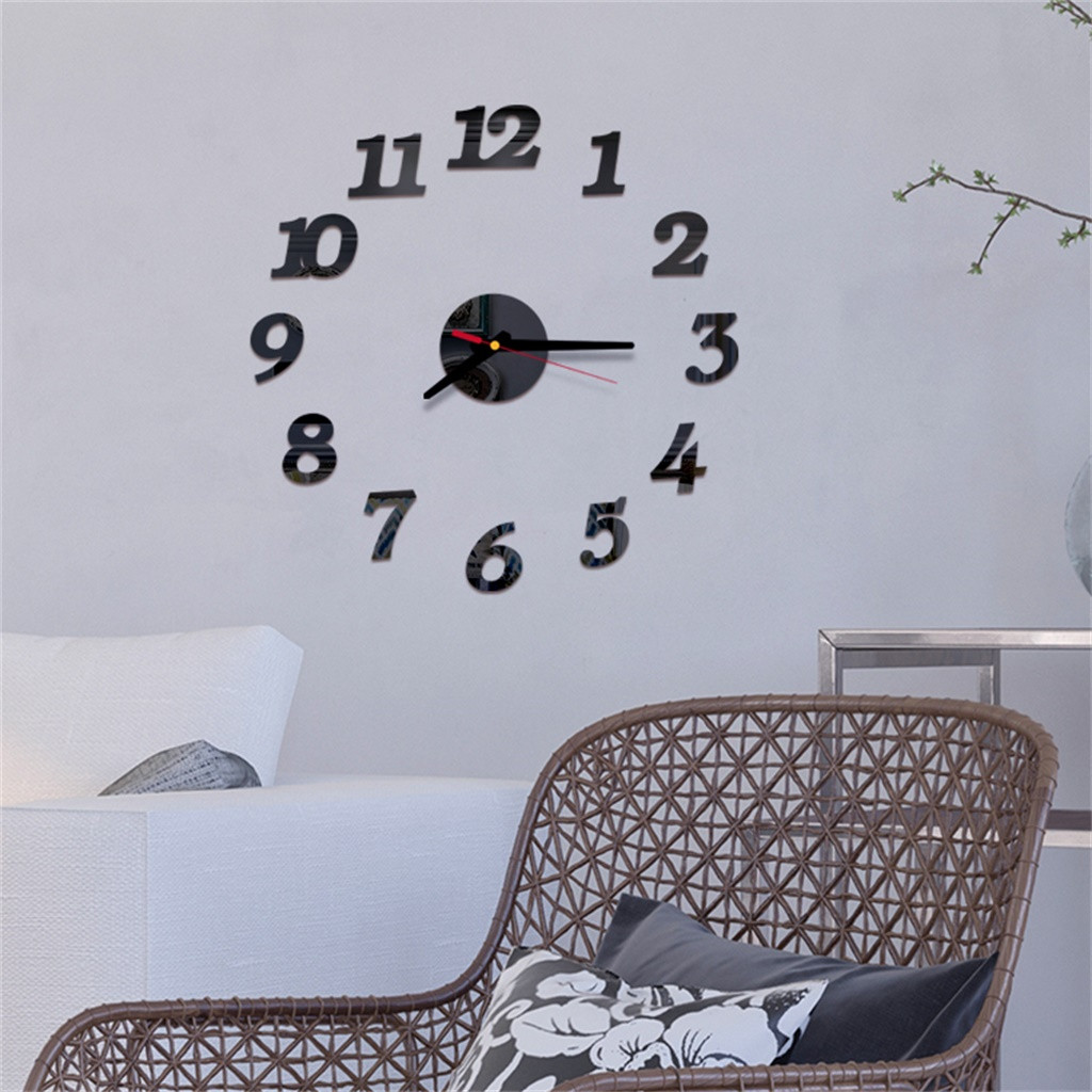 Acrylic Mirror Stickers Wall-Clock Living-Room-Decor Pared Reloj title=