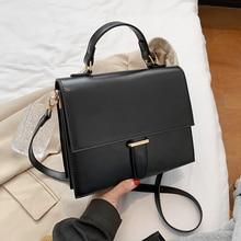 Burminsa Korean Style Women Handbags Large Capacity Female Shoulder Bags Crocodile Pattern PU Ladies Messenger Bags Winter 2020