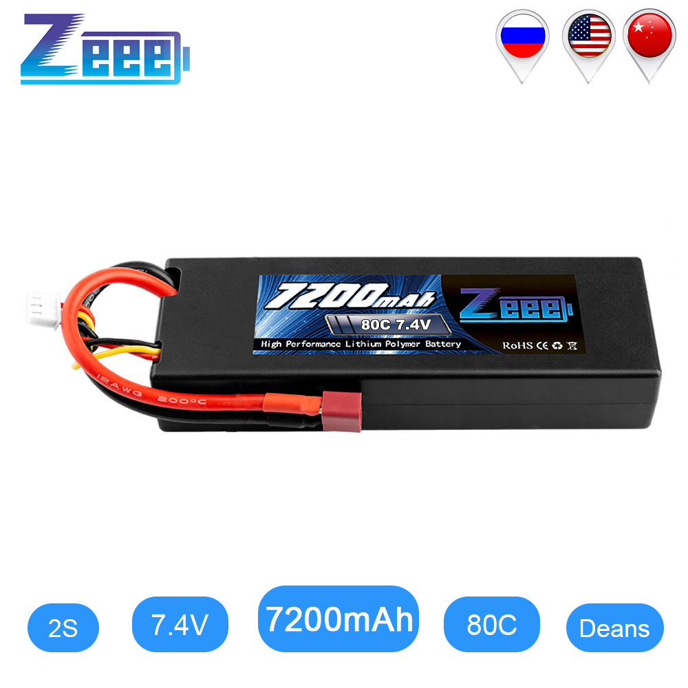 Zeee 7200mAh RC LiPo Batteries For RC 2S 80C LiPo 7.4V With Deans T Plug For RC Car Vehicle Truck Boat Losi Traxxas Slash Truggy
