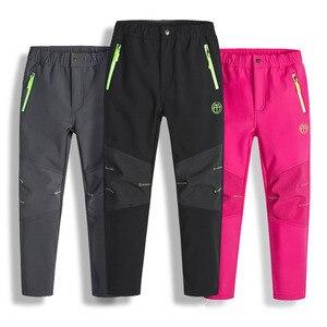 Image 1 - Pantalones de invierno para niños y niñas pantalones de lana Polar, impermeables, resistentes al viento, para esquí, para invierno, 2020