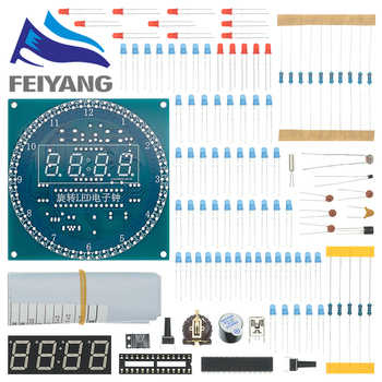 10 sztuk DIY obrotowy cyfrowy moduł wyświetlacza LED Alarm elektroniczny zegar cyfrowy zestaw 51 SCM płytka edukacyjna 5V DS1302 DaiDian