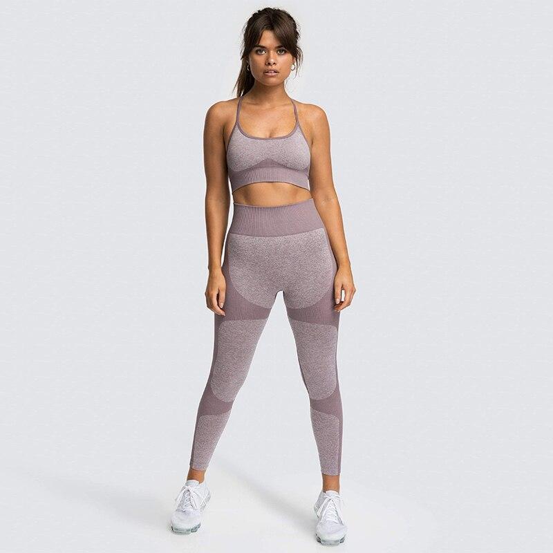 Комплект из 2 предметов для йоги, Женский бесшовный энергетический спортивный бюстгальтер, топ для тренировок, мягкий бюстгальтер пуш-ап дл...