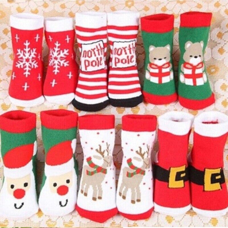 Xmas Baby Socks Reindeer Snowflake Snowman Printed Baby Boy Girls Cartoon Socks Cotton Cute Slip-resistant Floor Thick Footwear