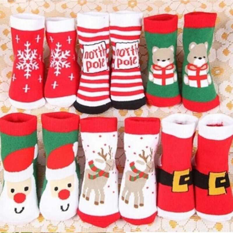Xmas baby sokken Rendier Sneeuwvlok Snowman gedrukt Baby boy meisjes cartoon sokken Katoen Schattige antislip vloer dikke schoeisel