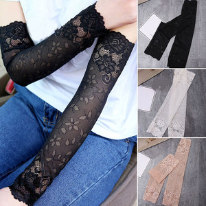 Summer Women Sexy Lace Gloves Sunscreen Long Lace Fingerless Mittens Covered Scar Elastic Sleeve Ladies Driving Gloves Dropship