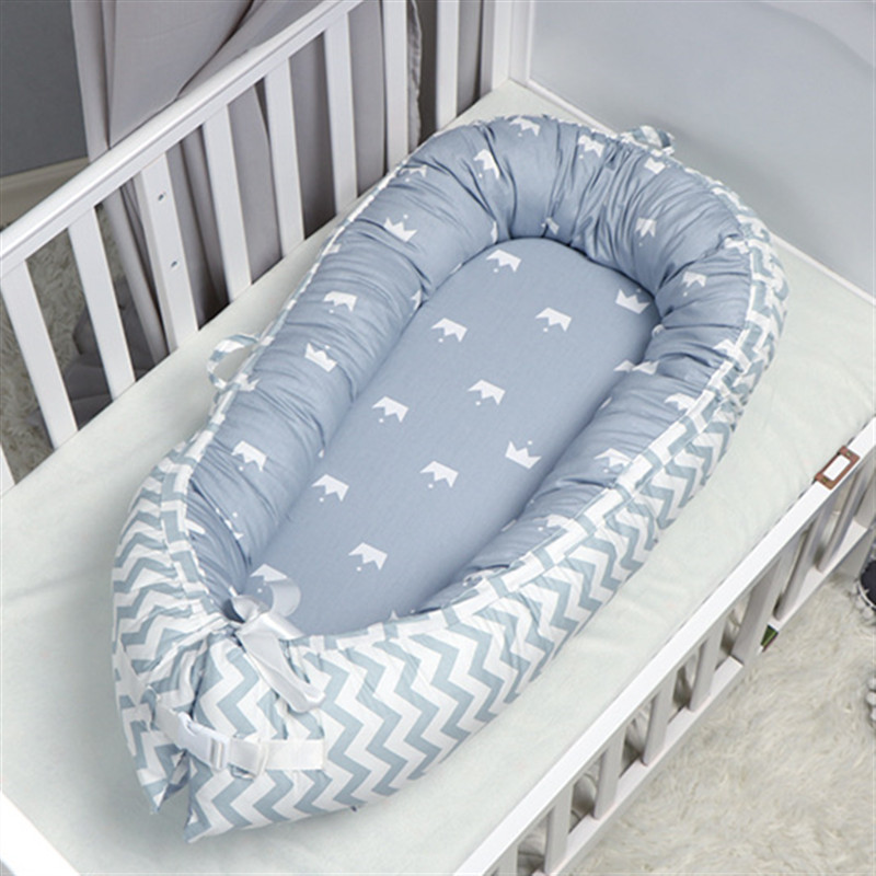 80X50cm Cotton Baby Nest Bed Portable Travel Bed Crib For Boys Girls Newborn Bed Bumper Nest