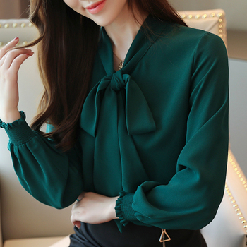 Blouses Woman 2021 Fashion Chiffon Blouse Long Sleeve Women Shirts Bow Collar Office Ladies Tops Womens Tops And Blouses B963 1