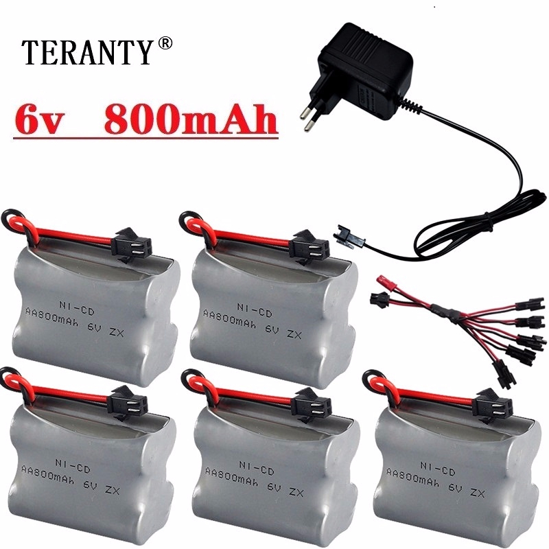 6v 800mAh Battery Charger set For RC Cars Robots Tanks Trucks Gun Boats 6v NiCD Battery Aa 800mah 6v Rechargeable Battery Pack image