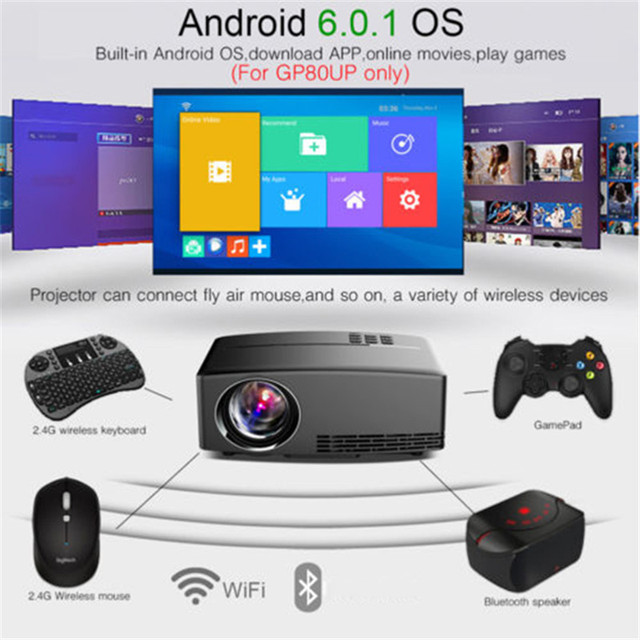 4 k hd 1080 p wi fi projetor sem fio led android 6.0 bluetooth hdmi cinema em casa hj55