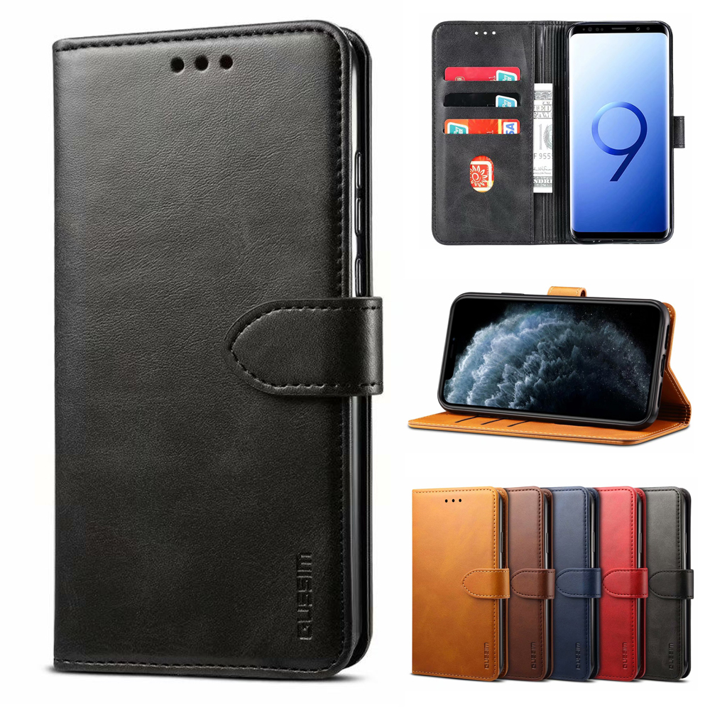 For S10 <font><b>Leather</b></font> Wallet <font><b>Flip</b></font> Phone <font><b>Cases</b></font> For <font><b>Samsung</b></font> Galaxy S8 S8plus S9 plus S10 Plus S10e S9 Note 8 Note 9 A20 A30 A50 A70 A20E image