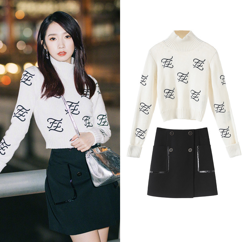 New  Toki Turtleneck Letters Advocating A Particular Sweater   Black Skirt Suit SA0941 Fashion