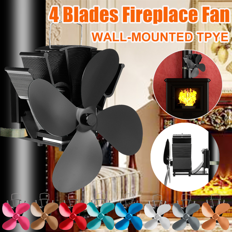 7 Inch 4 Blade Wall-mounted Bundled Heat Powered Stove Fan Komin Log Wood Burner Eco Quiet Fan Home Efficient Heat Distribution