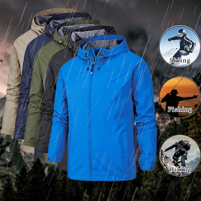 2019 Waterproof Coat Windproof Warm Solid Color Lightweight Hooded Zipper Fashion Male Coat Outdoor Sportswear Men Winter Jacket