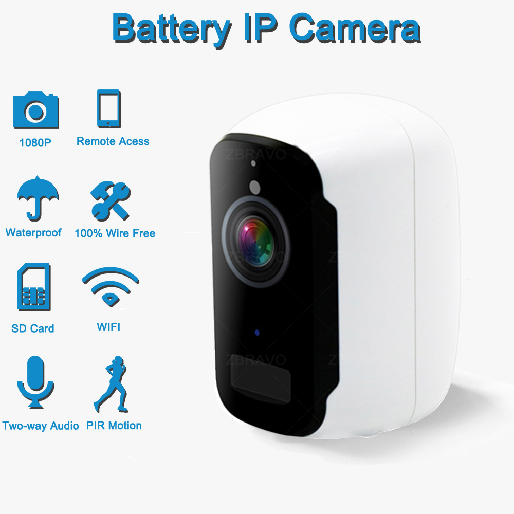 Battery Powered Camera WiFi IP Camera Home Security System Night Vision Indoor/Outdoor Wireless IP Camera 100% Wire-Free