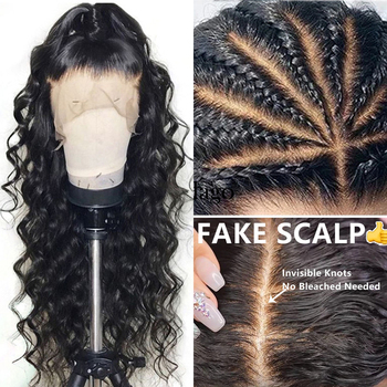 Loose Wave Full Lace Human Hair Wigs For Women 250 Density Brazilian HD Transparent Lace Wig Fake Scalp Glueless Dolago Wig