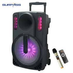 mega Powered portable rechargable battery bluetooth Big Speaker 15 inch Subwoofer With Colorful led Light audio sound amplifier