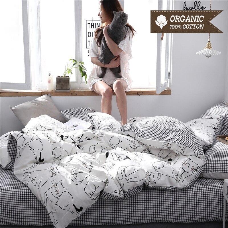100% Cotton  Bed Linen Set Cartoon Cat Style 40S 133*72 High Density Bed Sheet Quilt Cover Pillowcase 3-4pcs Bedding Set