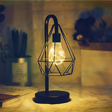 Desk Iron Art Reading Dormitory Nordic Style Restaurant For Bedroom Multifunctional Table Lamp Retro Home Decoration Night Light(China)