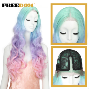 Image 3 - 自由合成レースの前部かつらロングナチュラル波30インチomber虹色ピンク髪かつら耐熱繊維コスプレかつら