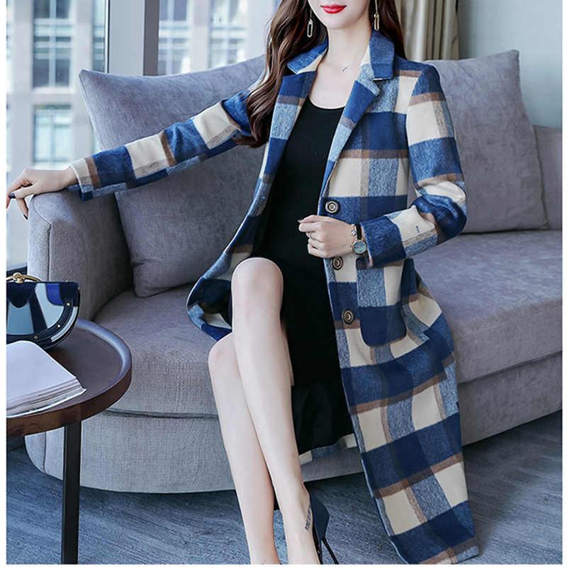 Женская куртка Осень Зима Женское высококачественное шерстяное пальто 2019 новые темпераментные модные средней длины Женское шерстяное пальто LXL54