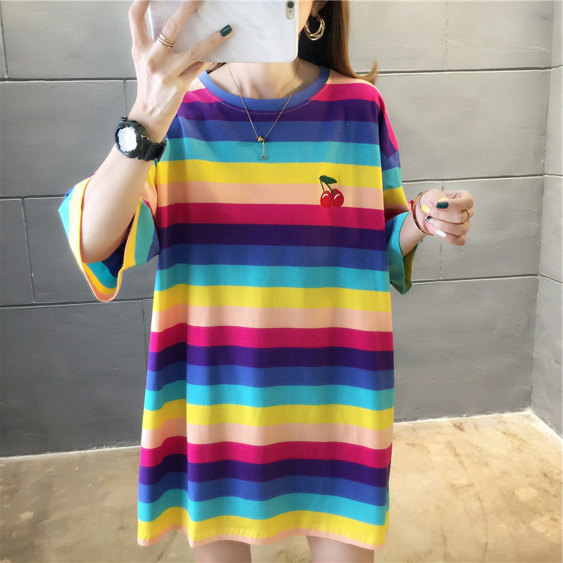 H92f6a969b4954f43a0d1a32d0959c070P - harajuku Women Striped Oversize Tshirt Chic Fashion 90s Short Sleeve Loose T-shirts Female Casual Tops Clothes Streetwear Tees