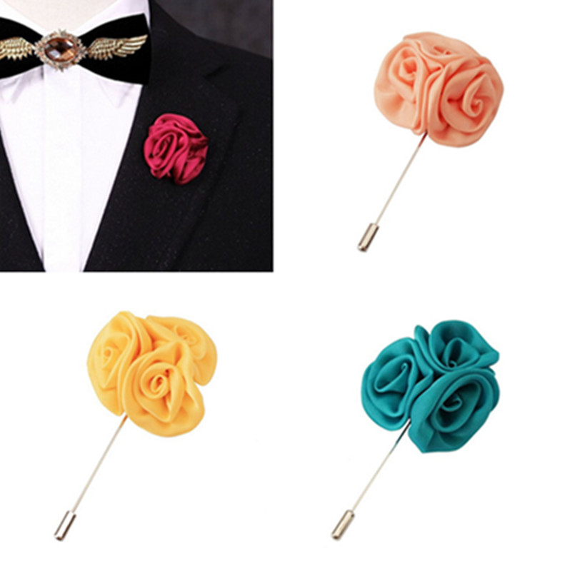 Men Lapel Rose Daisy Flower Handmade Boutonniere Stick Brooch Pin Accessory Gift