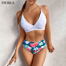 Floral Swimwear Swimsuits Sexy Bikini White Plus-Size Woman Female