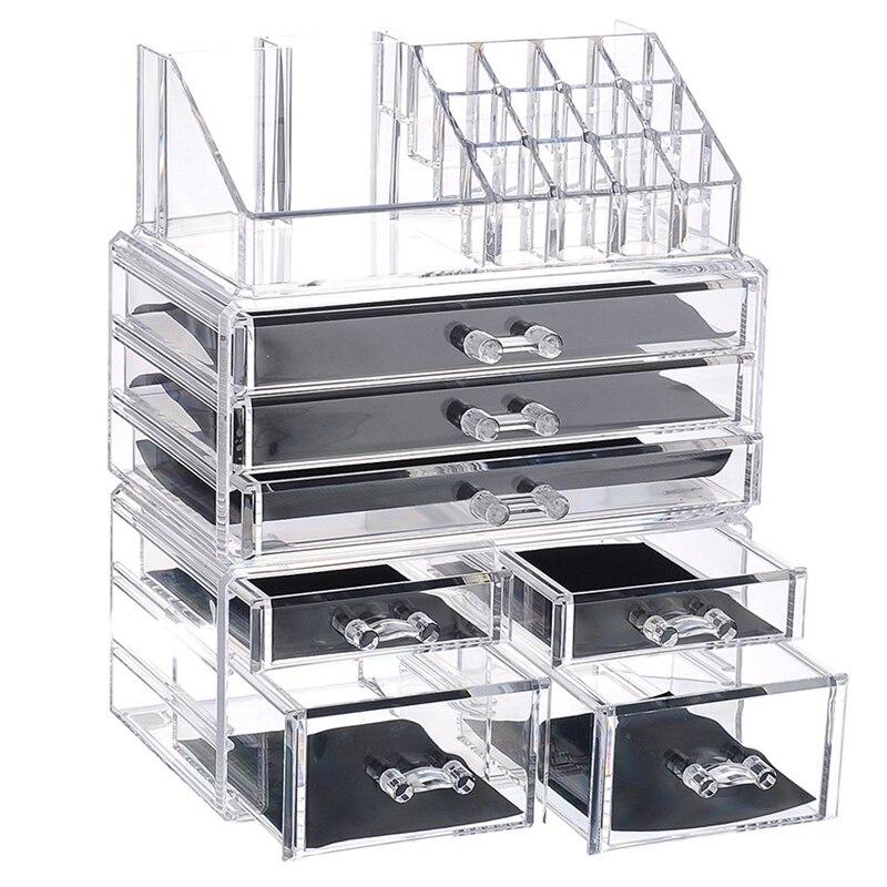 AFBC nuevo organizador de maquillaje acrílico transparente caja de almacenamiento de gran capacidad soporte de lápiz labial cajones organizador de maquillaje cepillo de herramientas cosméticas - 2