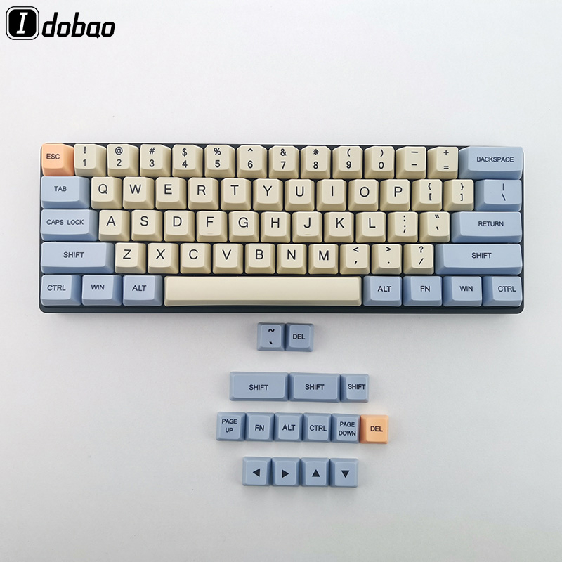 Blue Beige Orange Dye Sub 64 <font><b>68</b></font> Thick PBT Keycap Keyset OEM Profile <font><b>Keycaps</b></font> For Mechanical Keyboard YD60M XD64 GK64 Tada68 image