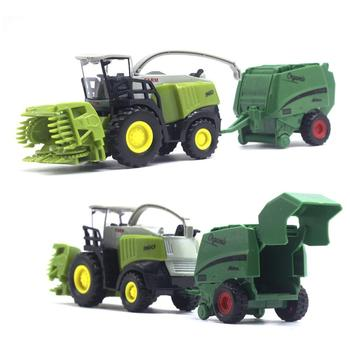 2Pcs 1/42 Diecast Tractor Harvester Farm Vehicle Car Model Kids Toy Xmas Gift image