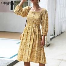 GIKING Floral Print Dress Women 2019 Fashion Long Sleeve Ruffle Pleated Autumn Boho Vintage Button Midi Vesdio Femme