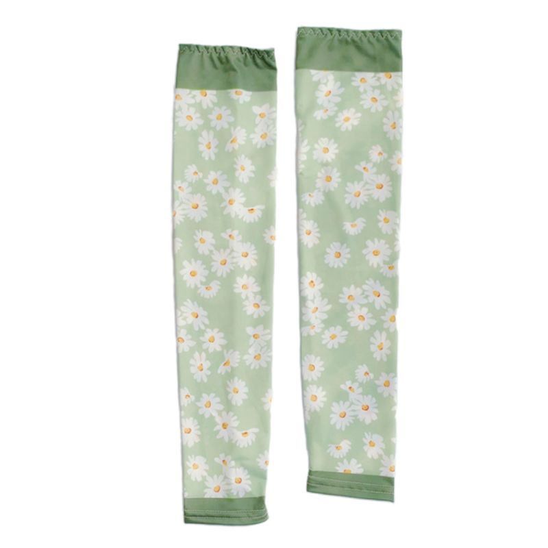 Unisex Summer Sunscreen Arm Sleeves Sweet Daisy Floral Strawberry Print UV Protection Ice Silk Driving Fingerless Gloves