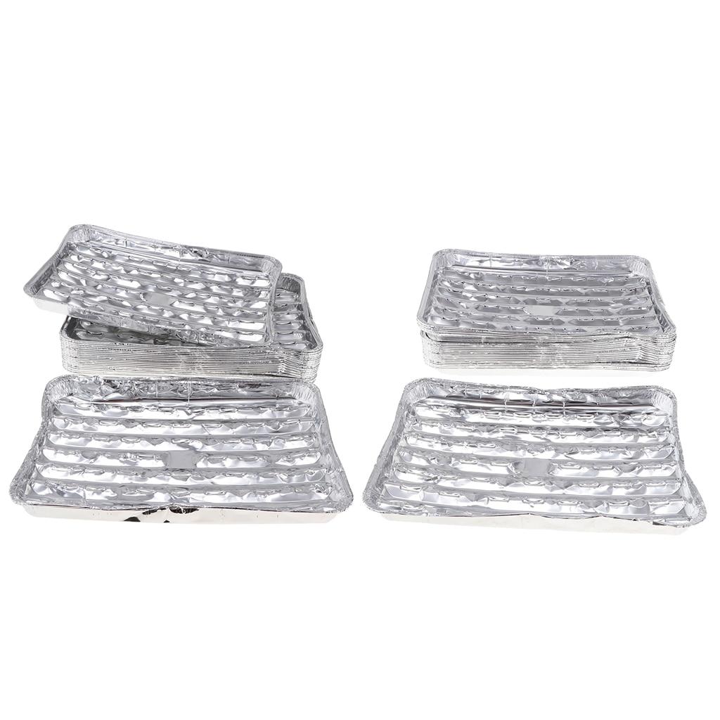 40pcs/set Disposable Aluminum Foil Pans Barbecue Grilling Trays Baking Plate