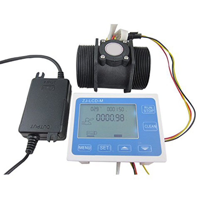 TOP! G 2 Inch Flow Water Sensor Meter+Lcd Display Controller 10 200L/Min+24V Power Eu Plug|Flow Sensors| |  - title=