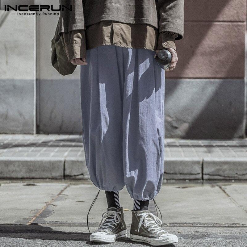 INCERUN 2020 New Mens Loose Elastic Waist Pants Summer Sweatpants Harem Joggers Man Pockets Bloomers Drawstring Trousers 5XL
