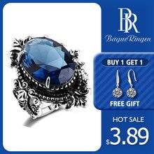 Bague Ringen Новое поступление винтажное большое овальное сапфировое Gemstome кольца для мужчин и женщин 925 пробы Серебряное кольцо юбилей вечерние подарки